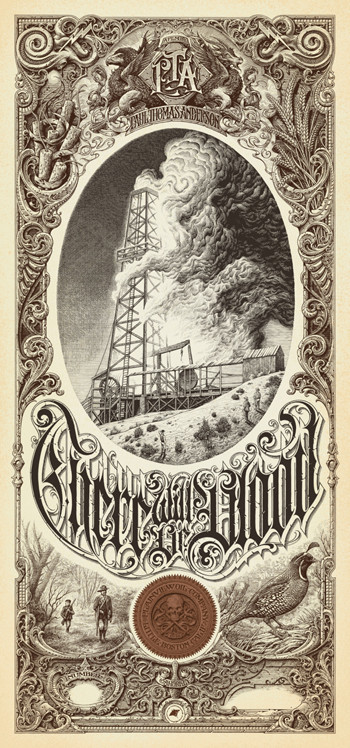 Aaron Horkey curated a series of posters based on Paul Thomas Anderson films on sale at Mondo this week including Horkey's creation for There Will Be Blood