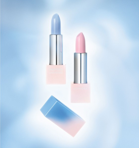 SEPHORA + PANTONE UNIVERSE Color of the Year Layer Lipsticks in PANTONE Serenity 15-3919 and PANTONE Rose Quartz 13-1520 ($18.00 each)