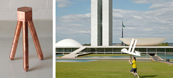 Left: Jonathan Muecke, Copper Step Stool. Right: Jordi Colomer, Anarchitekton, Brasilia, 2004.