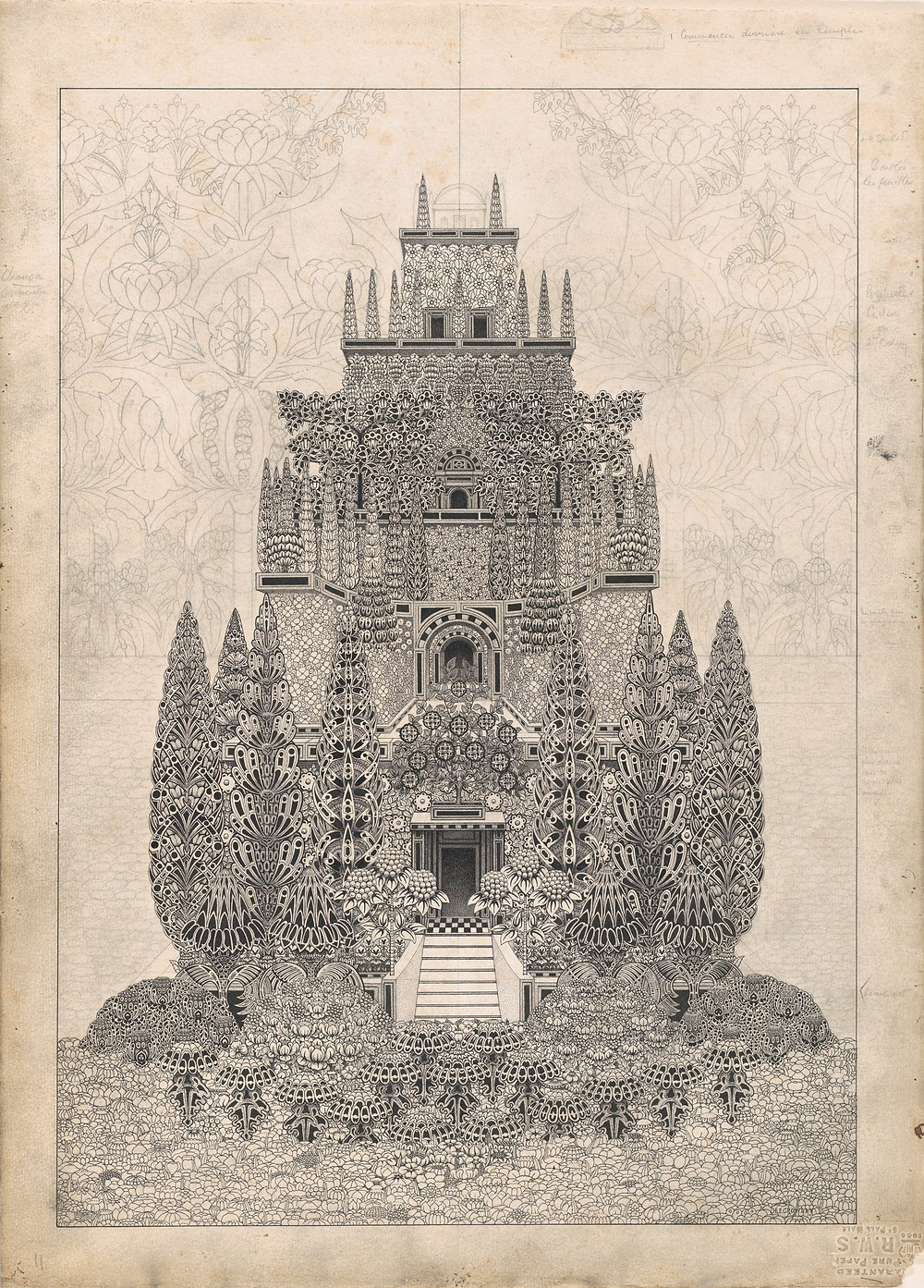 Herbert E. Crowley (British, London 1873–1939 Zurich) A Tiered Fantastic Structure, 1911–24 American, British, Black ink and graphite; Image: 18 5/16 × 12 7/8 in. (46.5 × 32.7 cm) Sheet: 20 11/16 × 14 7/8 in. (52.5 × 37.8 cm) The Metropolitan Museum of Art, New York, Gift of Mrs. Alice Lewisohn Crowley, 1946 (46.128.100) http://www.metmuseum.org/Collections/search-the-collections/412783