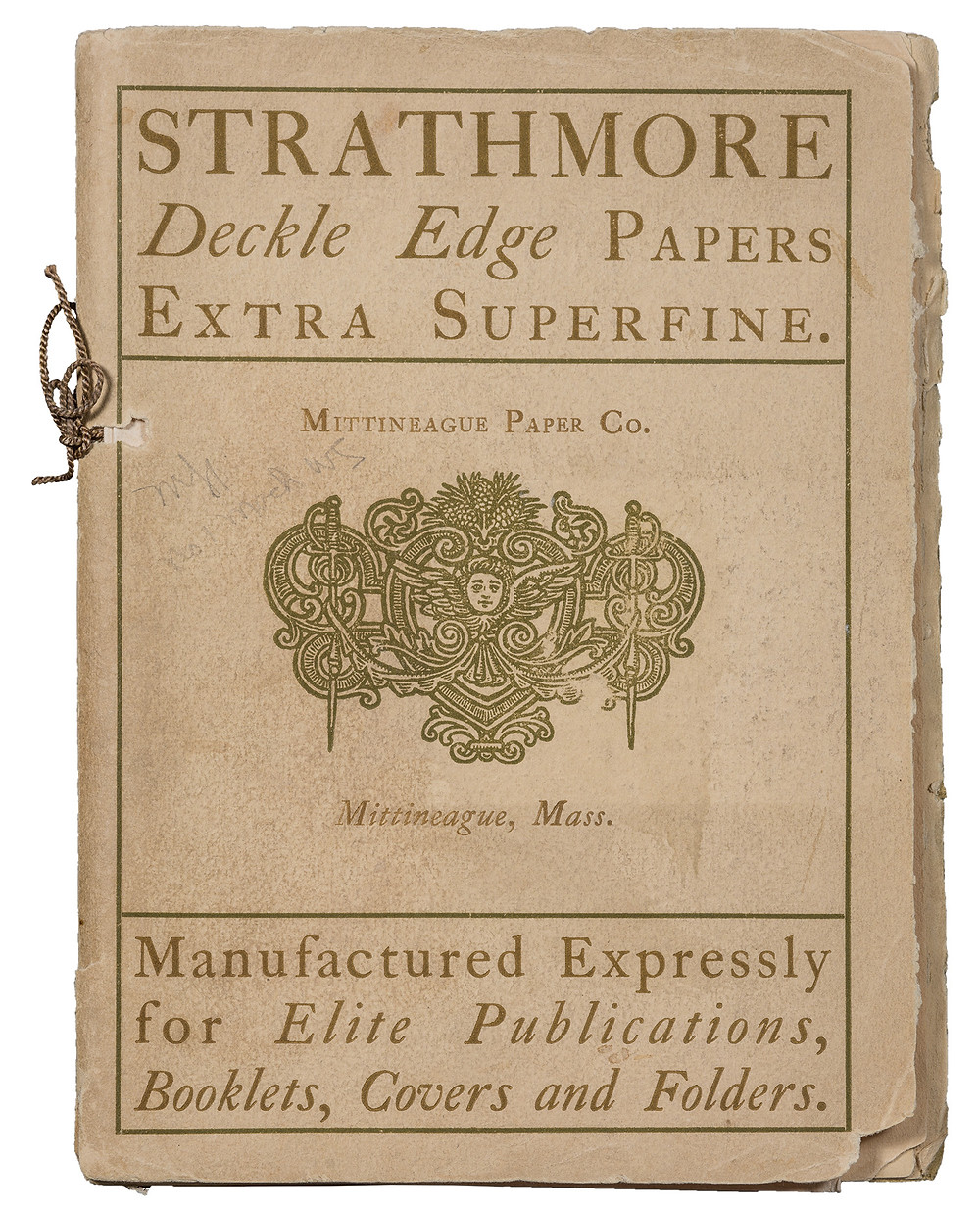 Strathmore Deckle Edge Papers Extra Superfine sample book (1898). Design by Will Bradley. This is one of the earliest paper promotions by an American paper manufacturer. (Courtesy of Mohawk Fine Papers.)