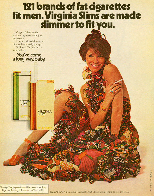 Vintage cigarette ads were often aimed at women.