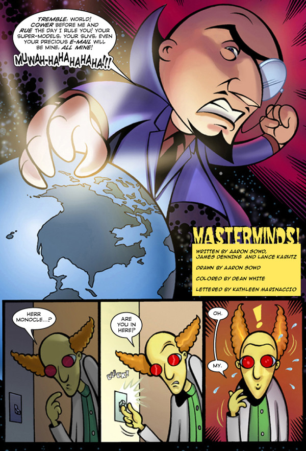 """""""Masterminds"""" comics page, Aaron Sowd"""
