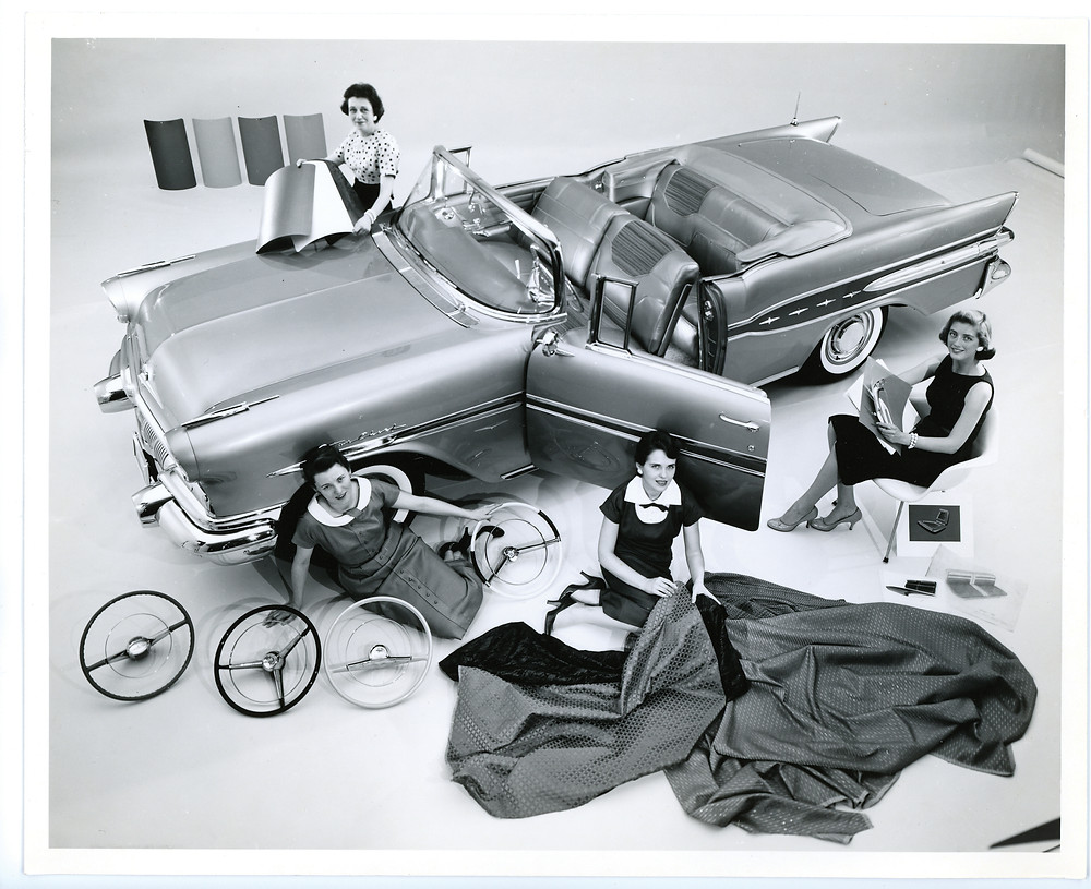 In this 1957 GM press photograph are Damsels of Design (clockwise from top left) Gere Kavanaugh, Dagmar Arnold, Jan Krebs, and Peggy Sauer.
