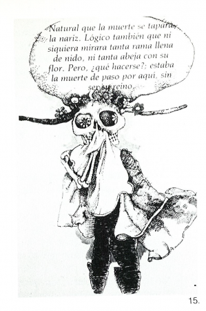 Fig. 15—Illustration by Gerardo Cantú from children's book, Francisca y la Muerte. Publisher: Consejo Nacional de Fomento Educativo, 1979, Mexico City. Reproduced with permission from Mexico's Secretaría de Educación Publica, Dirección General de Publicaciones Y Bibliotecas.