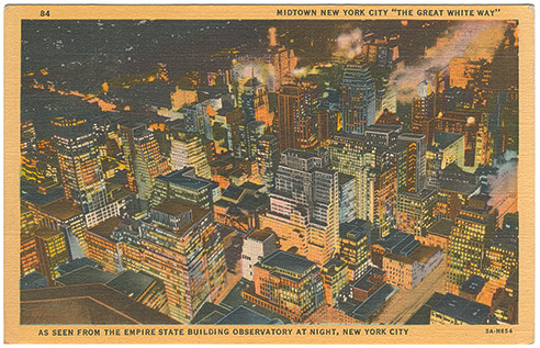 (pg 300) _Midtown New York City 'The Great White Way,' As Seen from the Empire State Building Observatory at Night, New York City_ Teich 5A-H654, 1935