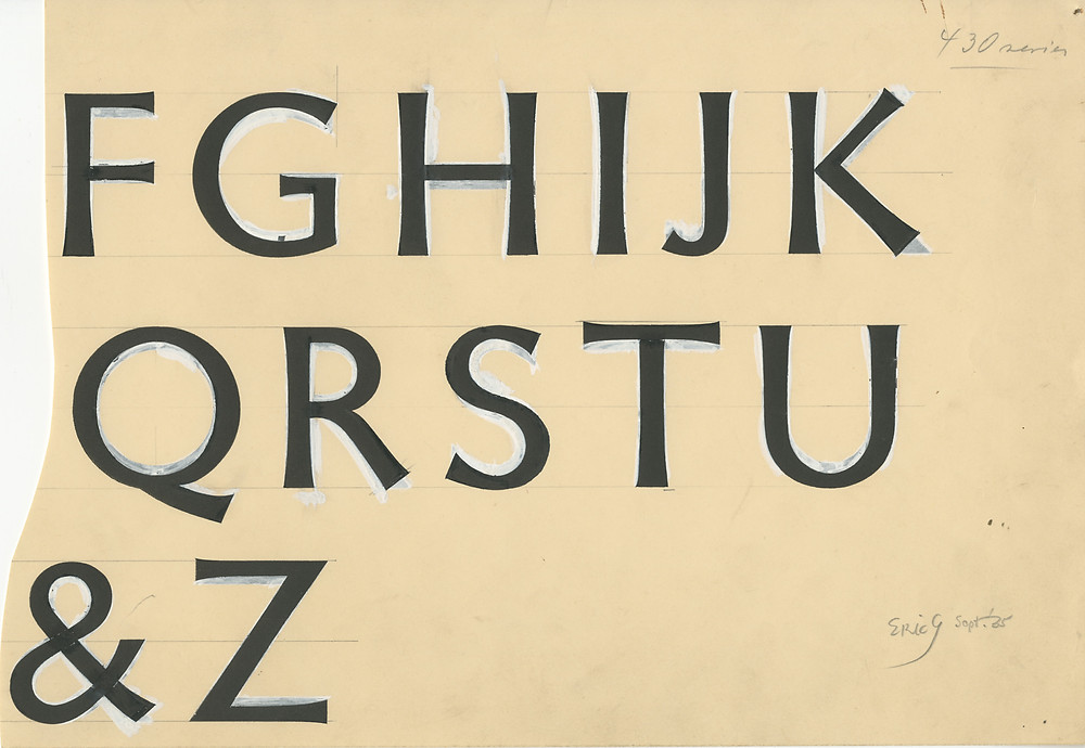 Detail of drawing by Eric Gill for an unreleased typeface, 1935. Apparently, Gill has simply retouched Gill Sans as the basis for the new design.