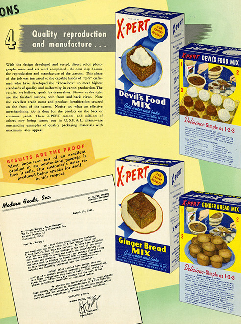 packaged food boxes, cans and labels from the '40s and '50s
