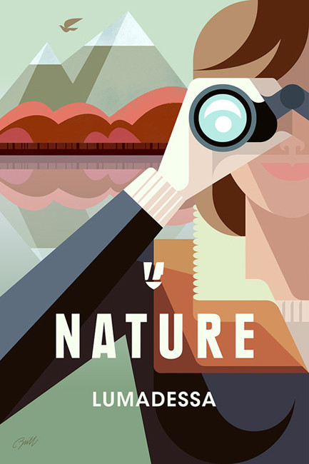 Nature Explorer poster and illustration: Josh Brill's illustration style leans toward geometric and exact, with a strong use of color.