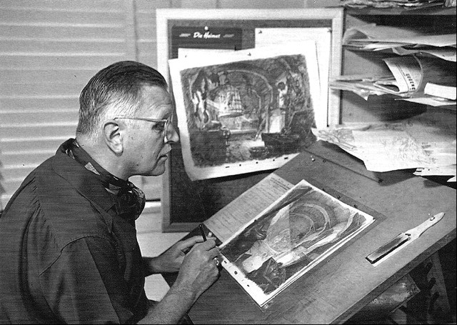 "A 1939 shot of Hurter at work on ""Pinocchio""."