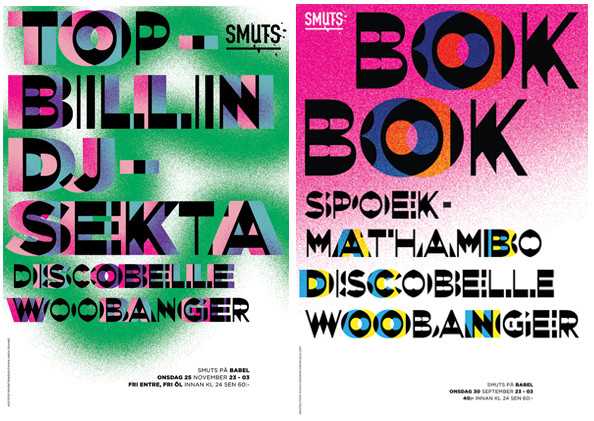 Posters for the nightclub Smuts, 2010