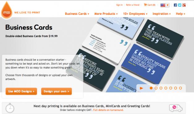 MOO biz cards homepage