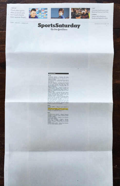 Lebron in the New York Times: The New York Times handled Lebron's return to Cleveland in a minimalist and inventive way in only a way a newspaper can.