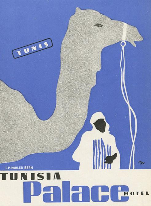 tunisia palace Hotel luggage label