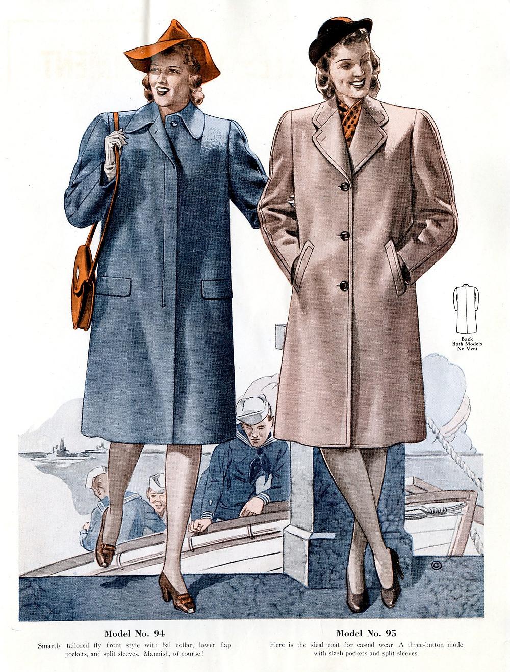 1940s fashion coats for civilian women