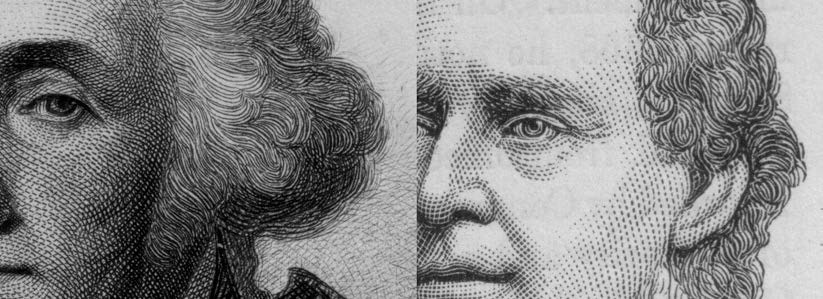 Close-ups: LEFT: Intaglio or engraved printing. RIGHT: Letterpress or relief printing.
