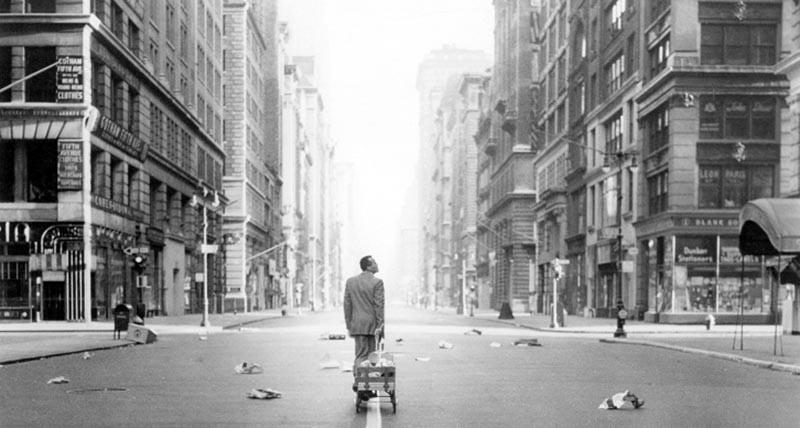 Man walking in an empty street