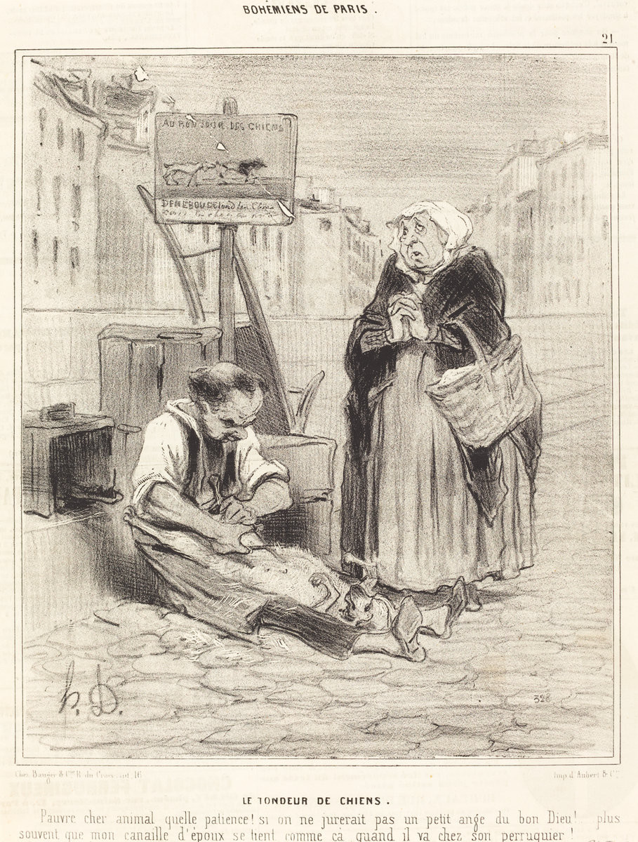 Honoré Daumier (French, 1808 - 1879 ), Le Tondeur de chiens, 1842, lithograph on newsprint, Ailsa Mellon Bruce Fund 1979.49.40 From the National Gallery of Art
