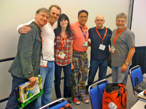 "The panelists in the ""Comics Across All Media"" panel: Paul Feig, Scott Brick, Whitney Matheson, Chip Kidd, Brad Meltzer, and Michael Uslan."