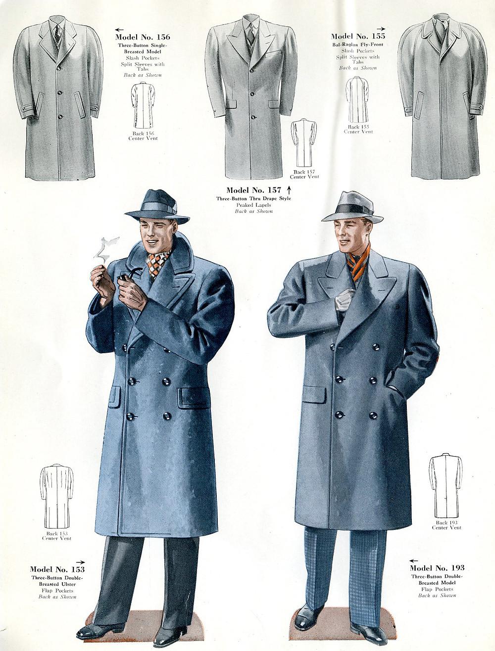1940s fashion overcoats for men