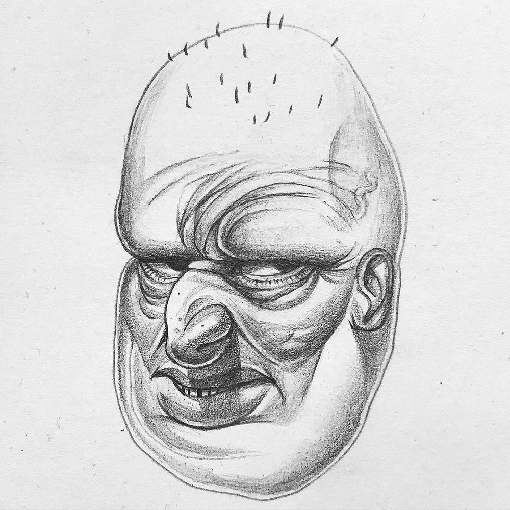 Jack Cox creates polymer sculptures of human faces.
