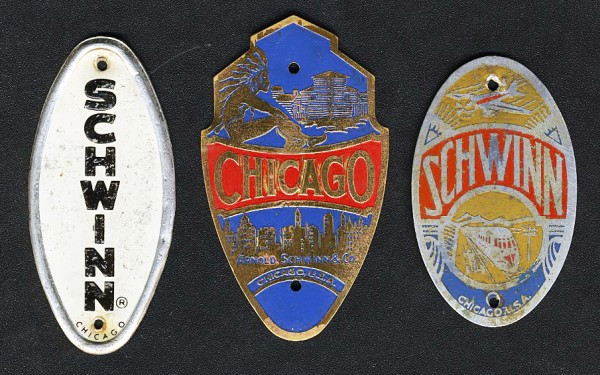"""3 Schwinn Head-badges from the JJSP collection. I asked Ben Bochner, a good friend in high school, if I could have the """"Chicago"""" plate off his bike. He said yes, but regrets it to this day. . ."""