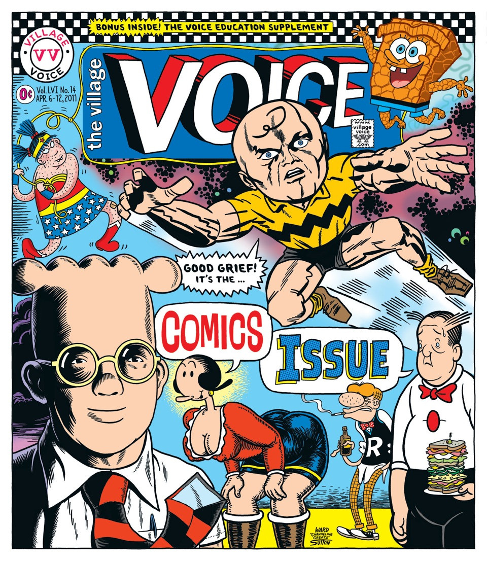 Ward Sutton's mash-up Comics Issue cover for The Village Voice,