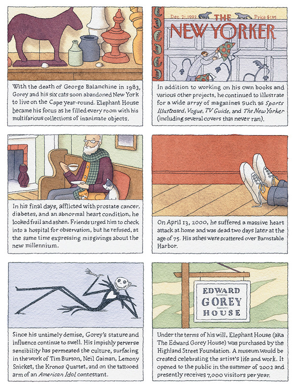 Greg Clarke's admiration for Edward Gorey comes across in his delicate, respectful linework, lettering, and color palette.