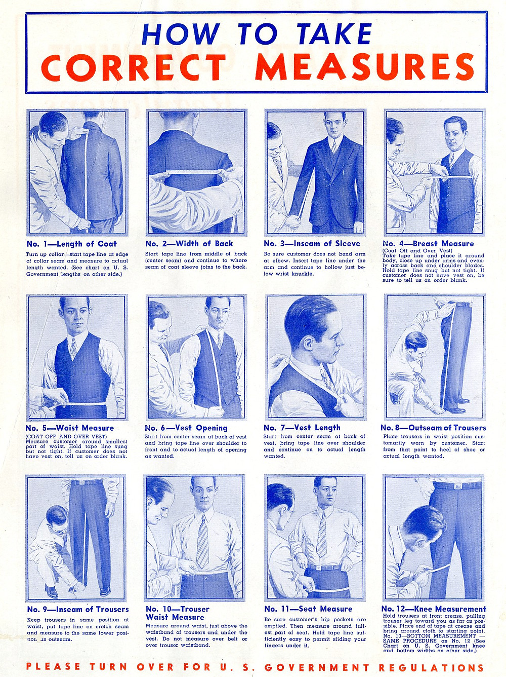 1940s fashion measurements