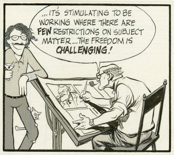 An original art panel from Denis Kitchen and Will Eisner