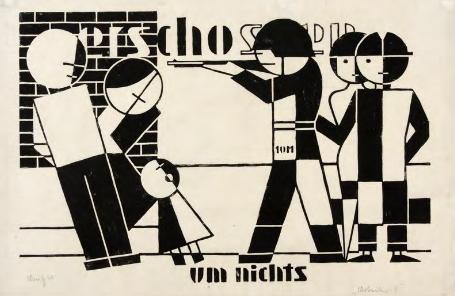 """Gerd Arntz. """"Shot for Nothing,"""" 1924."""