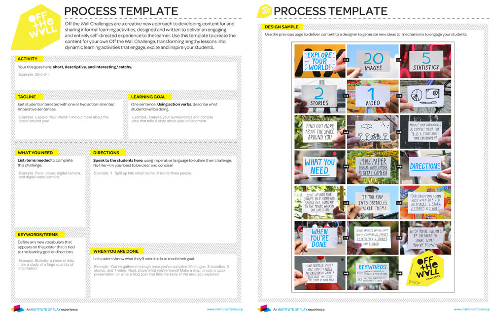 """The """"process template"""" is intended to help educators commission their own Off the Wall posters."""