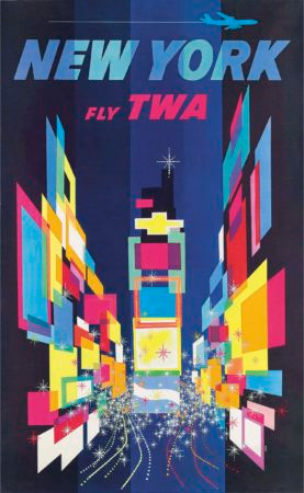 A 1950s retro graphic design poster from the airline industry.