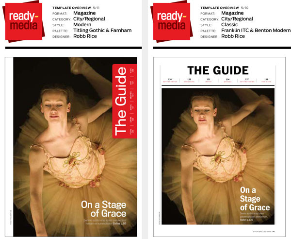 """Sample spreads, with type palette listings, for Ready-Media's """"Trumbull"""" and """"Lochmoor"""" magazine template designs."""