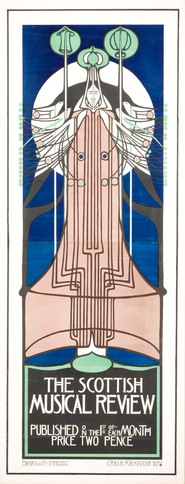 "Charles Rennie Mackintosh: lithograph poster for ""The Scottish Musical Review,"" 1896. 96 1/2 x 39 1/8 in."