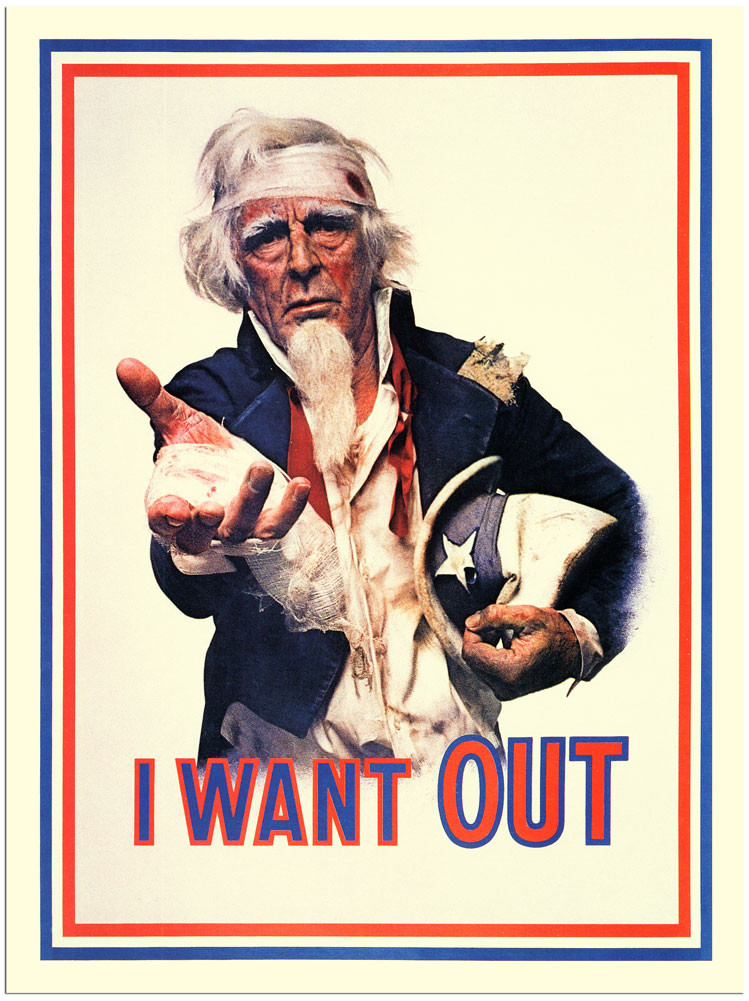 i want out anti war poster 1970s