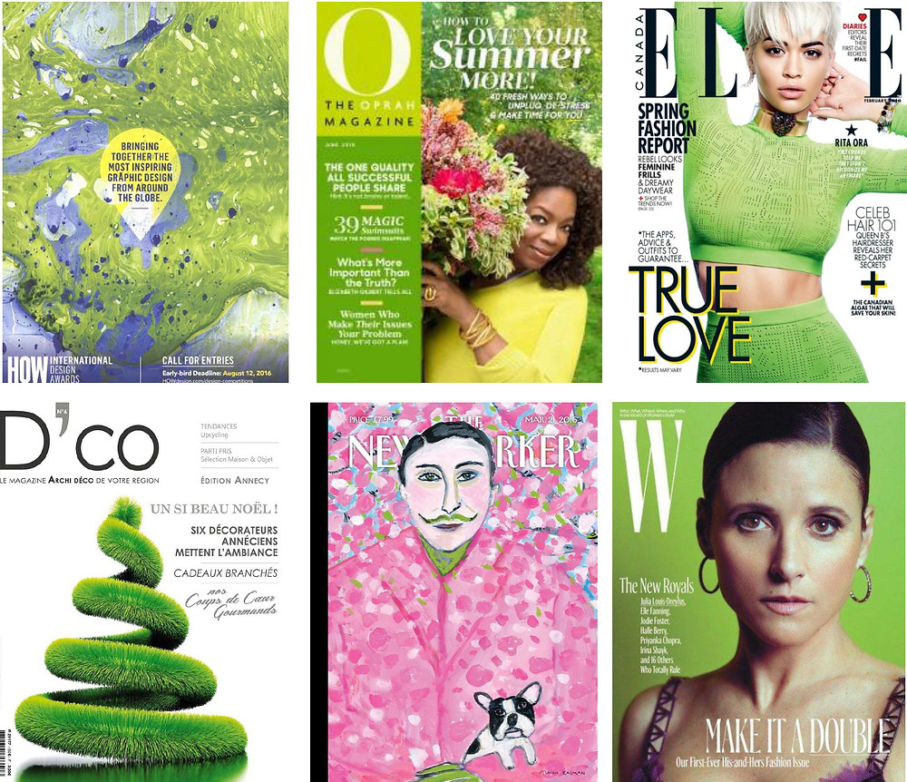 Recent magazine covers featuring traditionally unlucky green