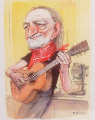 Portrait of Willie Nelson.