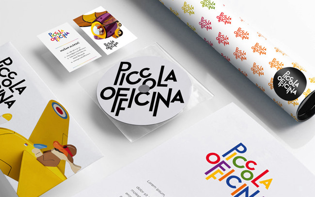 Piccola Officina branding: Just a small sampling of branding work by De:work for children's wooden toy manufacturer Piccola Officina.