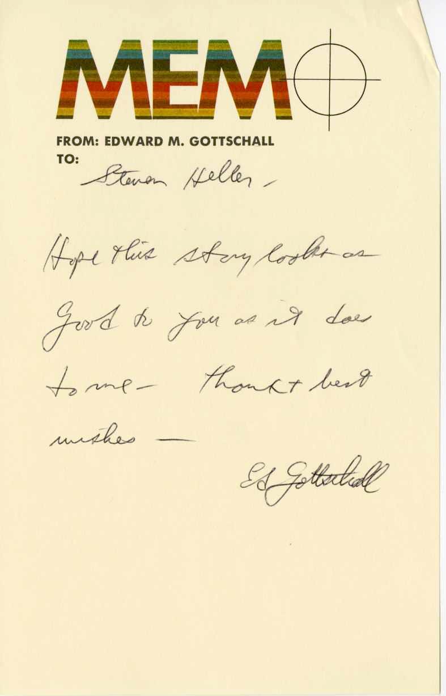 letter from Edward M. Gottschall to steven heller