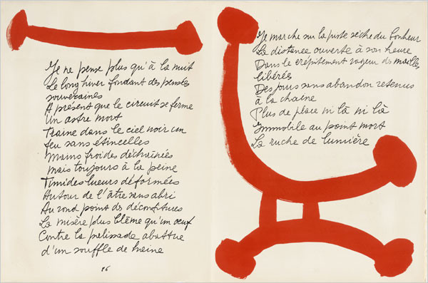 """Book spread for """"The Song of the Dead"""" a book of poetry by Pierre Reverdy, 1948"""