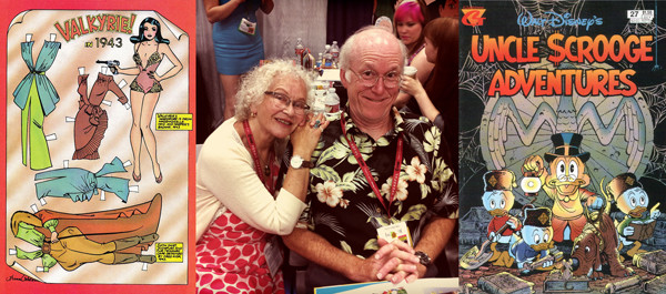 "Trina Robbins and Don Rosa; where else would a ""Tits & Clits"" comix contributor cozy up to a devoted Disney duck man?"