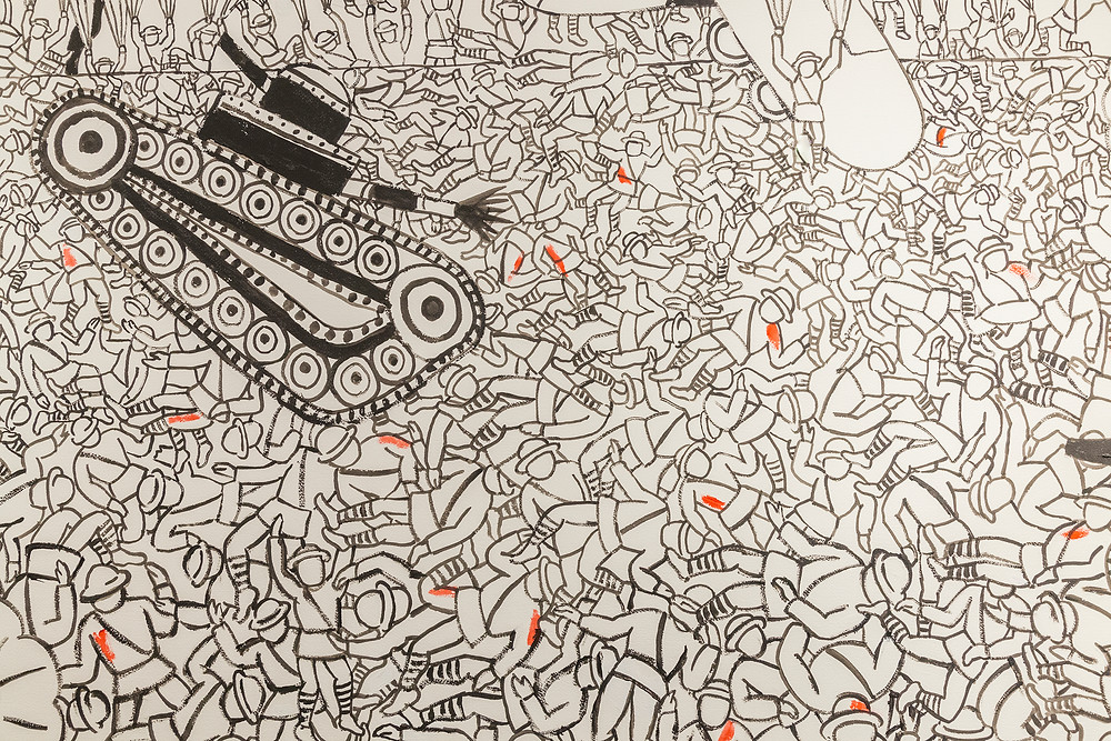 """Seymour Chwast: Works of War"" is exhibiting at SUNY Binghamton."