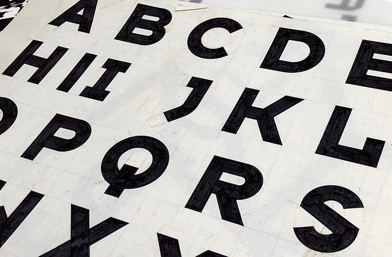 Typeface Six—original drawings from 1986 before digitization, making it the first font I drew in Fontographer.
