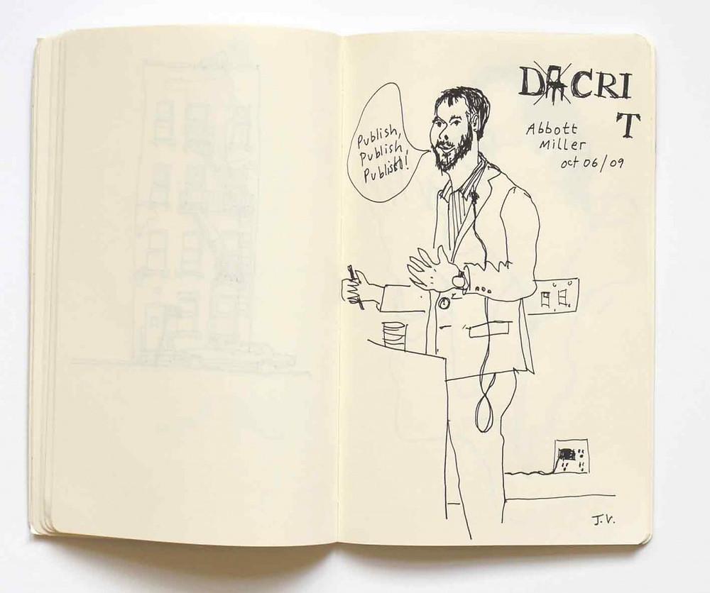 Illustration by Jeanne Verdoux of Abbott Miller lecture '09