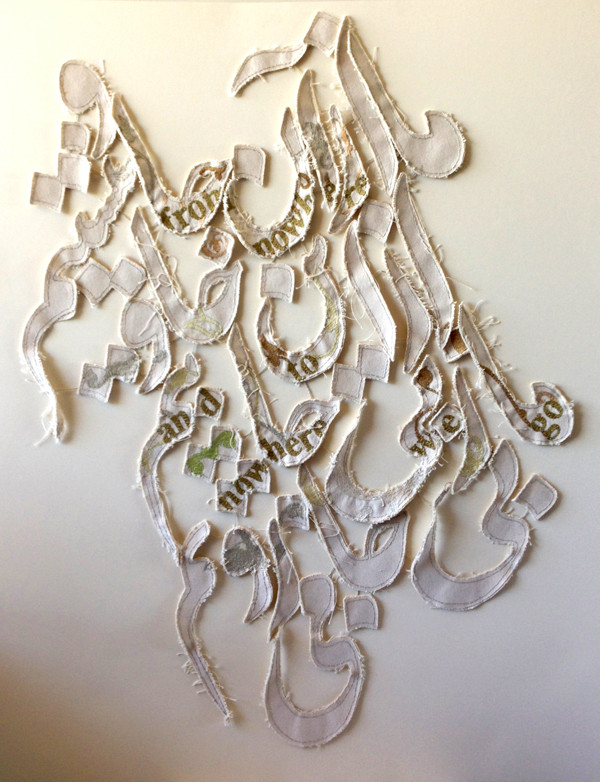 """Shilla Shakoori: Eternity (canvas fabric stitches), 2013. """"This piece is based on a Rumi poem: 'We are not from here, and not from there; we are from nowhere, and to nowhere we go.'"""""""