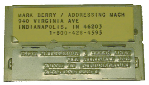 The original charge plate made by Addressograph.