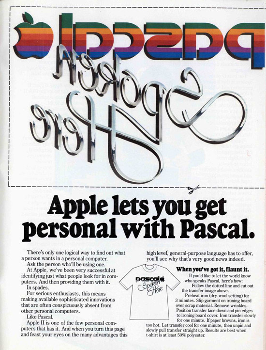 "1979 Apple Pascal ""Iron-On"" Ad. ""When you've got it, flaunt it."""
