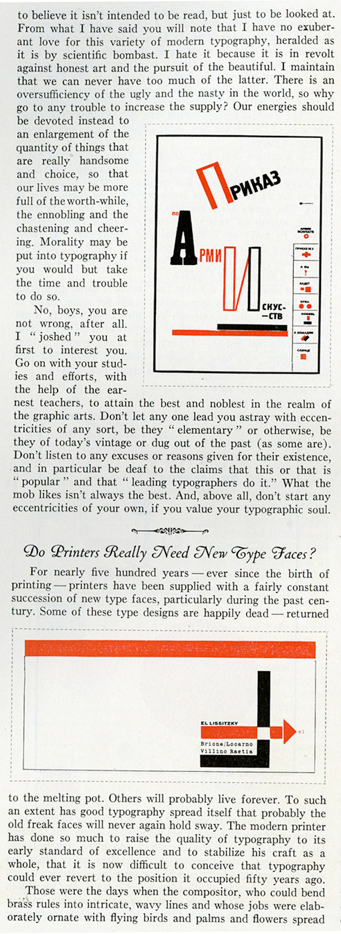 The Inland Printer ran an article about New Typography.