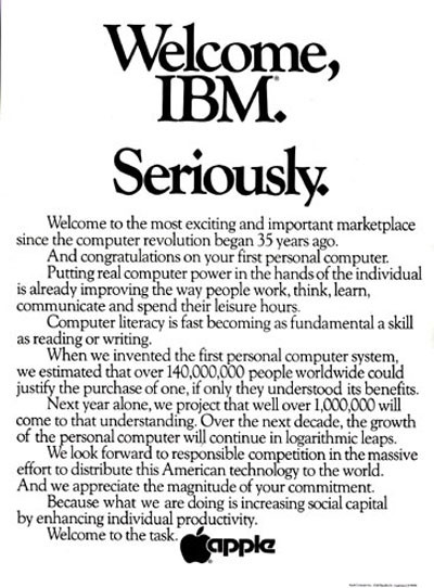 "1981 IBM ""Seriously"" Ad."